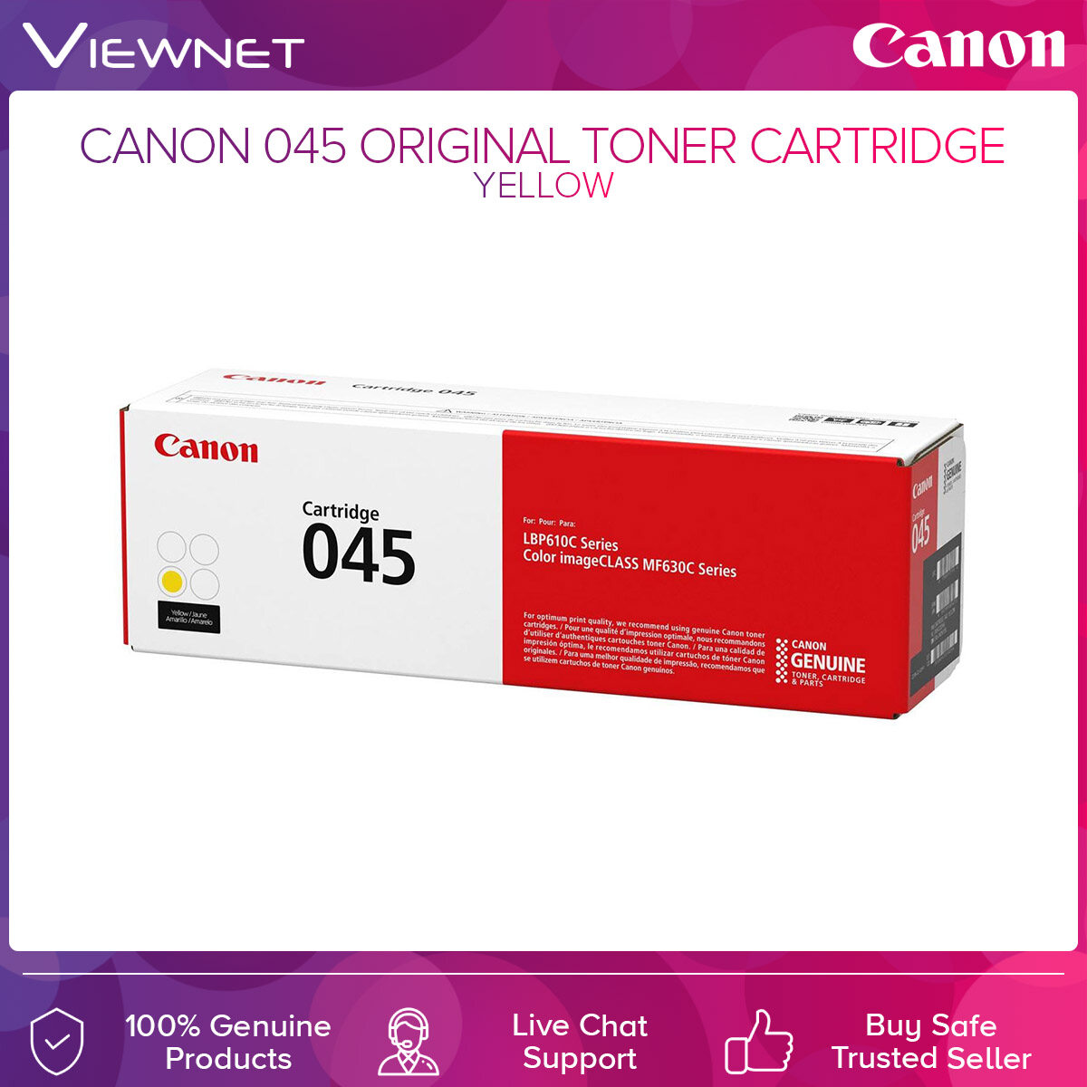 Canon 045 ORIGINAL TONER CARTRIDGE Black  Cyan  Magenta  Yellow