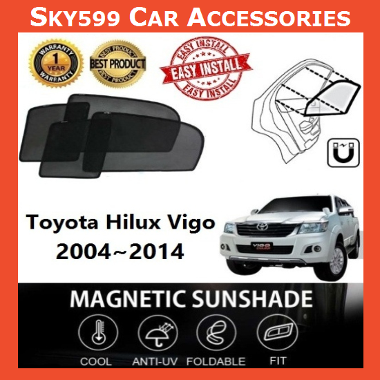 Toyota Hilux Vigo 2004-2014 Magnetic Sunshade 【4pcs】