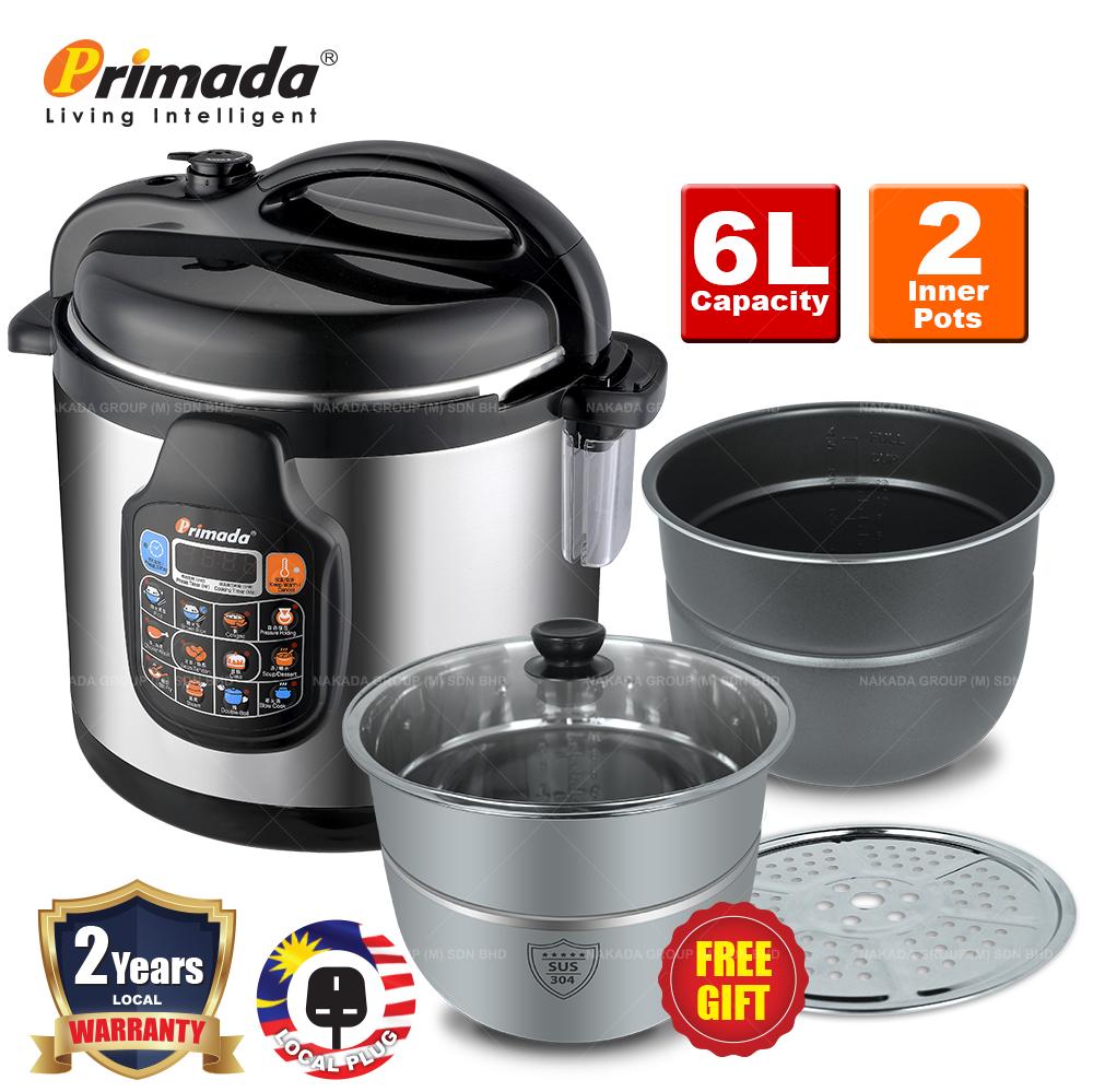 Primada 6 Liter Dual Pots Pressure Cooker PC6030(1 NON STICK POT + FREE 1 STAINLESS STEEL POT + 1 STEAM RACK) PC6030 FREE PC6005B