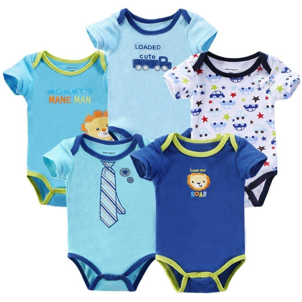 5 Pieces Set Baby Boy Cotton Romper Full Moon Christmas Gift Random Design ( Boy )
