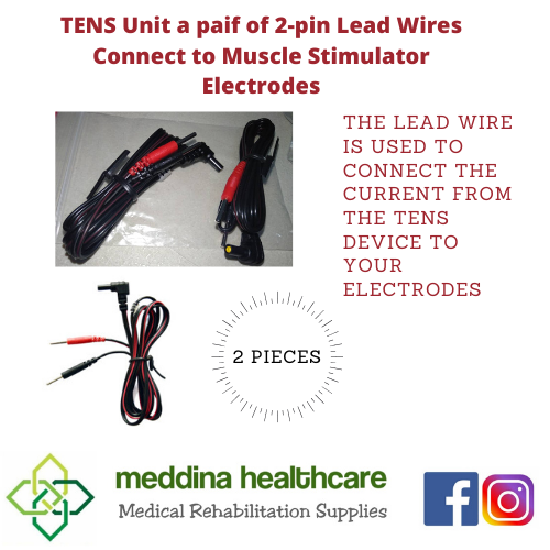 TENS Unit a pair of 2-pin Lead Wires Connect to Muscle Stimulator Electrodes