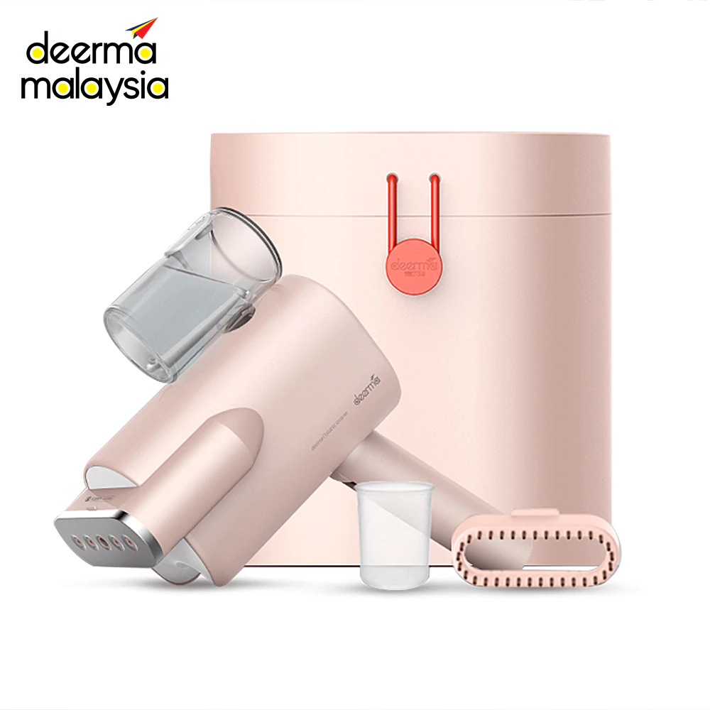 Deerma HS008 Portable Garment Steam Iron - Pink With Hard Container Case