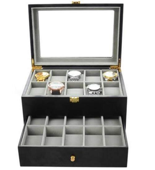 20 Slot Black Matte Wood Watch Jewelry Storage Box