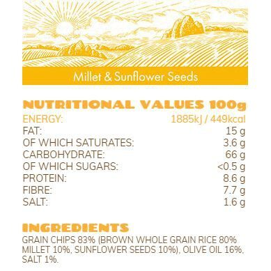 Rice Up Organic Rice Chips With Super Seeds Millet & Sunflower Seeds 25G x2 - TWIN PACK