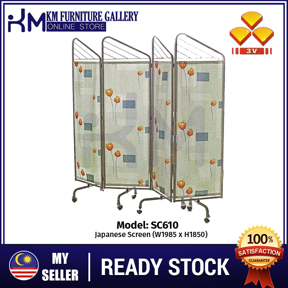 KM Furniture 3V SC610 High Quality Divider Stand w Roller Durable 4 Panels Folding Screen Japanese Screen Oriental Style