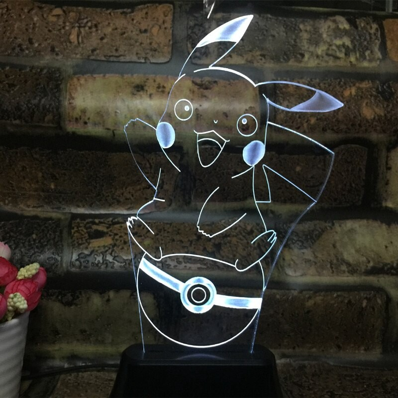 Anime Pikachu Figurine 3D LED Lamp Light USB Colorful Toy for Home Deco