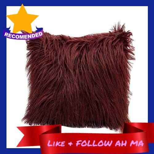 Best Selling Long Plush Pillowcase Cushion Cover (Burgundy)