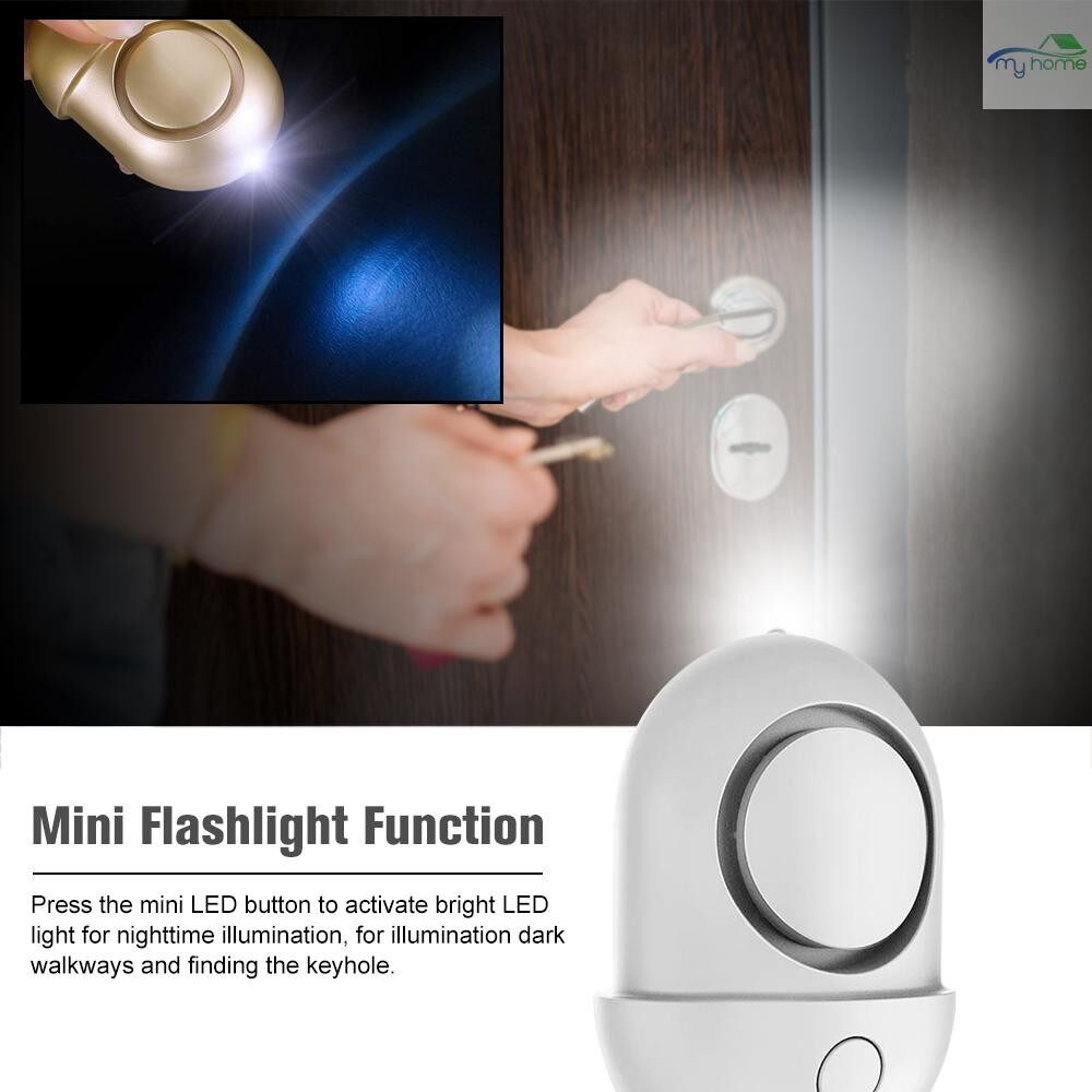 Sensors & Alarms - Personal Alarm 125-130dB Safe Sound Emergency Self-Defense Security Alarm Keychain LED Flashlight - GOLD / ROSE RED / BLUE / PURPLE / SILVER / BLACK