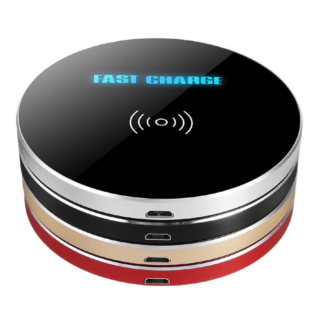 Mobile Cable & Chargers - WIRELESS Qi Standard Fast Charger PORTABLE Slim Desktop For iPh X Samsung HTC - RED / SILVER / BLACK / GOLD