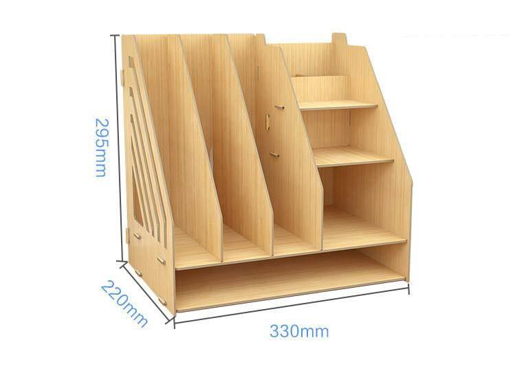 DIY Wooden Desk Organizer Office Storage Box with Drawer Pen Holder book rack