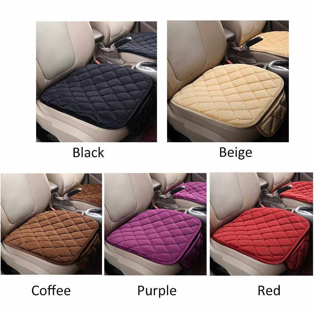 Best Selling Winter Universal Plush Keep Warm Anti Slip Car Seat Lattice Cushion Cover Protector Mat (Black)