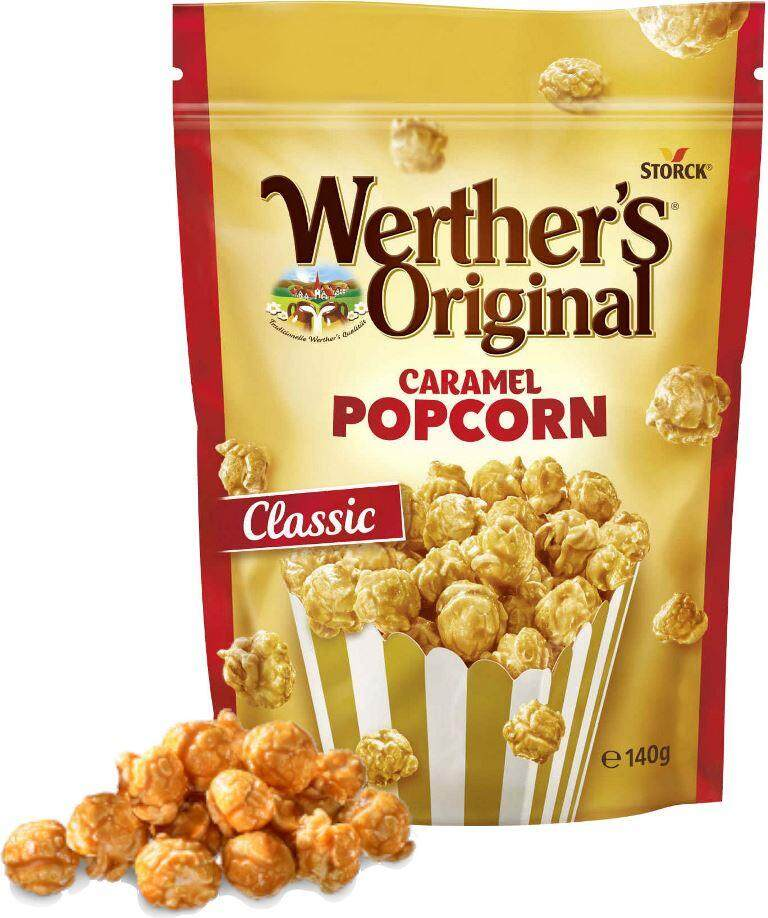 WERTHER'S ORIGINAL CARAMEL POPCORN (Classic) 140g ~ Made in Germany (the only caramel popcorn made with real Werthers Original caramel) popcorn, movie snack, delicious snacks for kids, caramel popcorn, gourmet popcorn, gourmet snacks, sweet popcorn