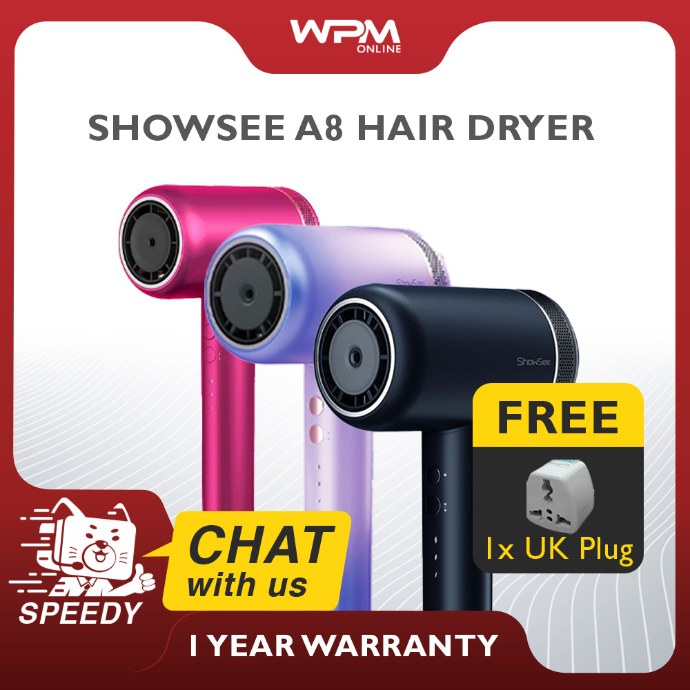 【READY STOCK】ShowSee A8 Mi Youpin Showsee Hair Dryer Negative Ion HairDryer 1800W Smart 55°C Temperature Control Quick Dry Styling 有品小适A8电吹风 Pengering Rambut Kuat Tahan Lasak