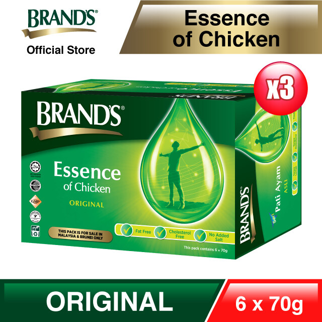 BRANDS Essence of Chicken Triple Pack (3x 6s) 18 bottles x 70gm [Immunity & Energy Booster] [Metabolism Booster] [Improve Concentration][EXPIRY: SEPT 2021]