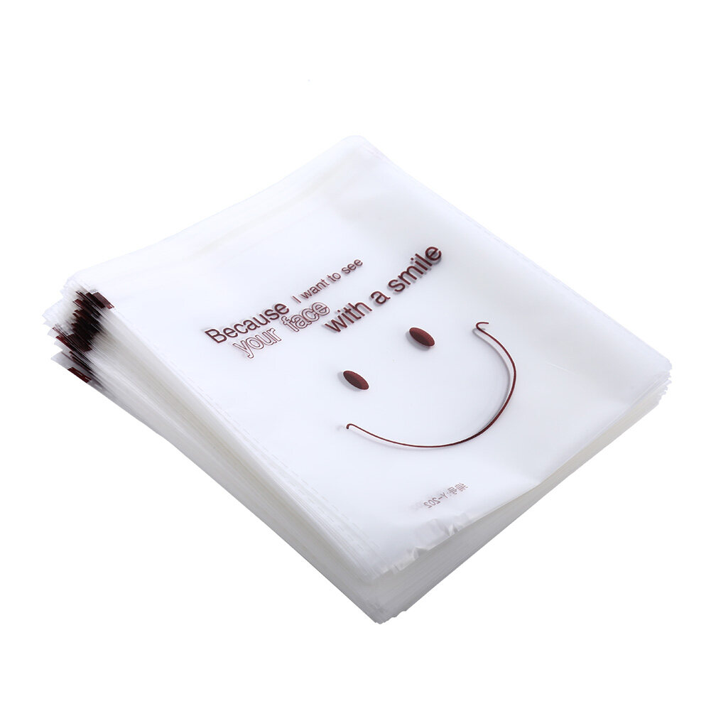 200 Pcs Cute Smiling Face Packing Bag Food Package Self-adhesive Cookies Biscuit Snack Pastry Bags