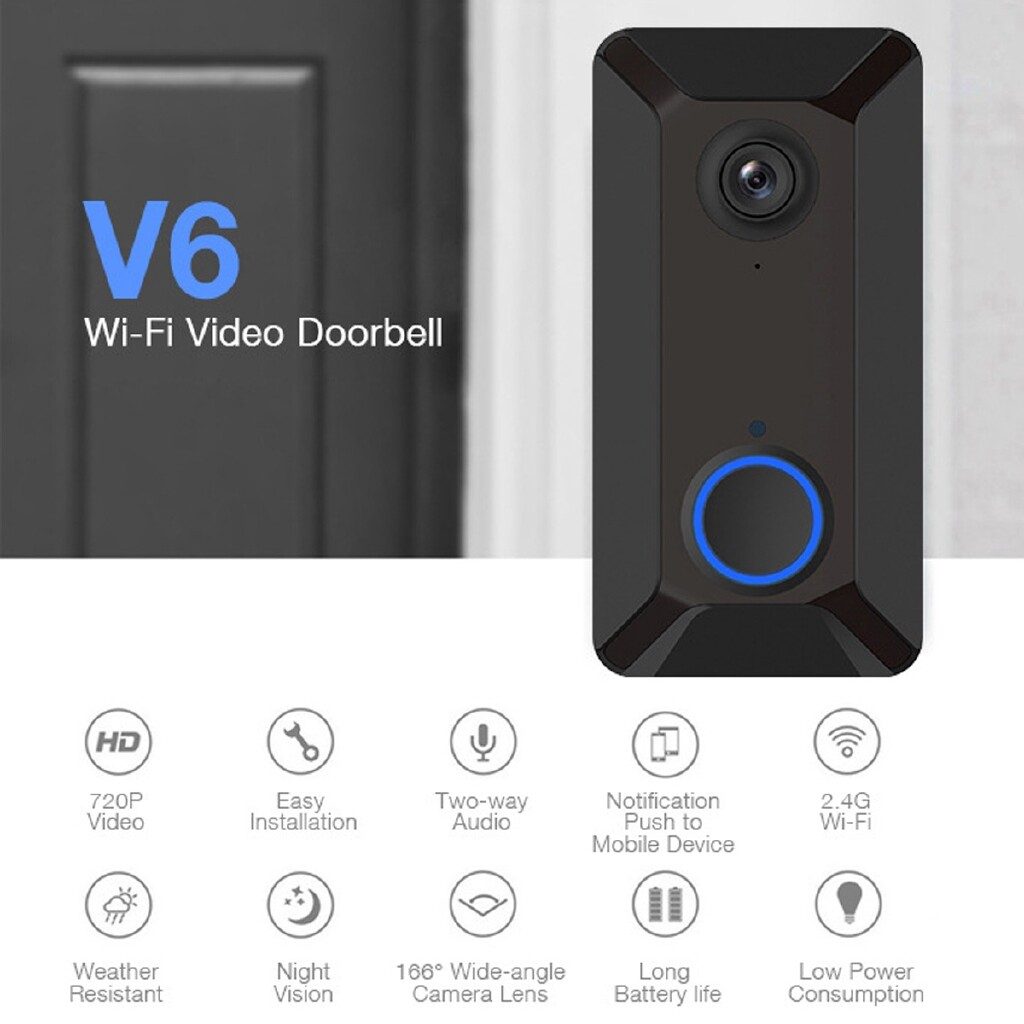 Mobile Cable & Chargers - 166 Wide Angle Smart WIRELESS Doorbell WiFi IR Night Vision Home Security Door Bell Support Motion - GREY / BLACK