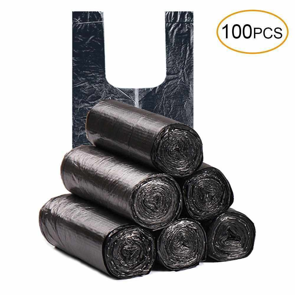Disposable Thickened Garbage Bag with Handle Tie 100 Pcs Portable Household Heavy Duty Trash Bag Diaper Disposable Bags Green (Black)