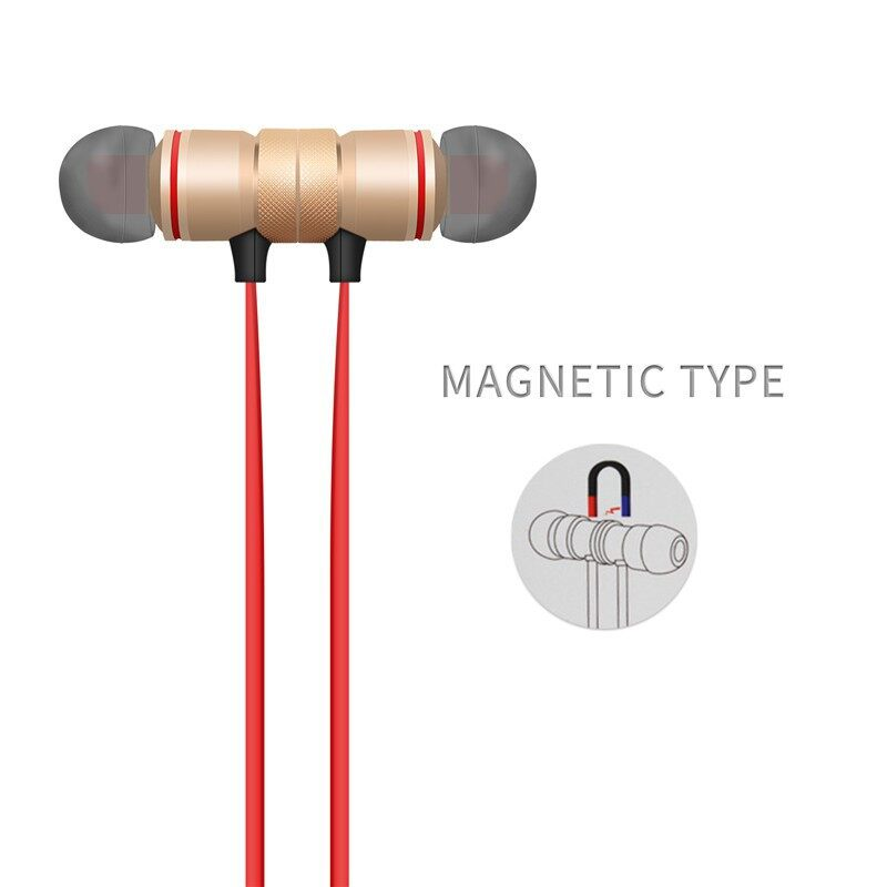 WIRELESS BLUETOOTH Earphone Neckband In Ear Stereo Head SET Magnet - BLACK / ROSE GOLD