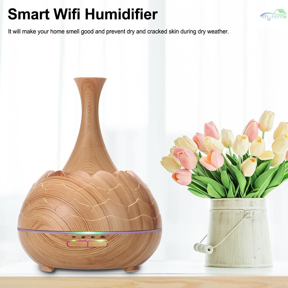 Humidifiers & Air Purifiers - Smart Wifi WIRELESS LED Night Lamp 400ml Humidifier Essential Oil Aromatherapy Mist Diffuser Phone - LIGHT WOOD GRAIN-UK / LIGHT WOOD GRAIN-EU / LIGHT WOOD GRAIN-US / DEEP WOOD GRAIN-UK / DEEP WOOD GRAIN-EU / DEEP WOOD G