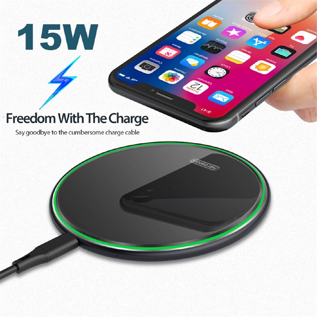WIRELESS Chargers - 15W Qi WIRELESS Fast Charger Charging Stand Pad Mat For All Qi-Enabled Phones - BLACK / WHITE