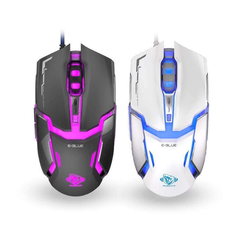 Gaming Computer Mouse - E-Blue EMS618 4000DPI 1000Hz 6 Buttons USB Wired Optical Gaming Mouse For PC Computers Laptops - WHITE / BLACK