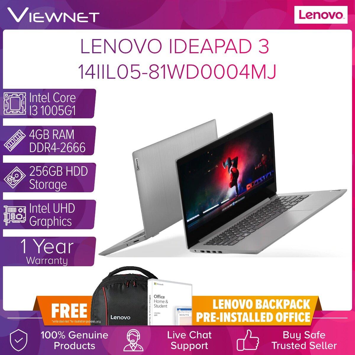 LENOVO IDEAPAD 3 14IIL05 81WD0004MJ, 81WD0002MJ, 81WD0003MJ Laptop INTEL I3 1005G1 4GB DDR4 256GB M.2 PCIE INTEL HD W10 14