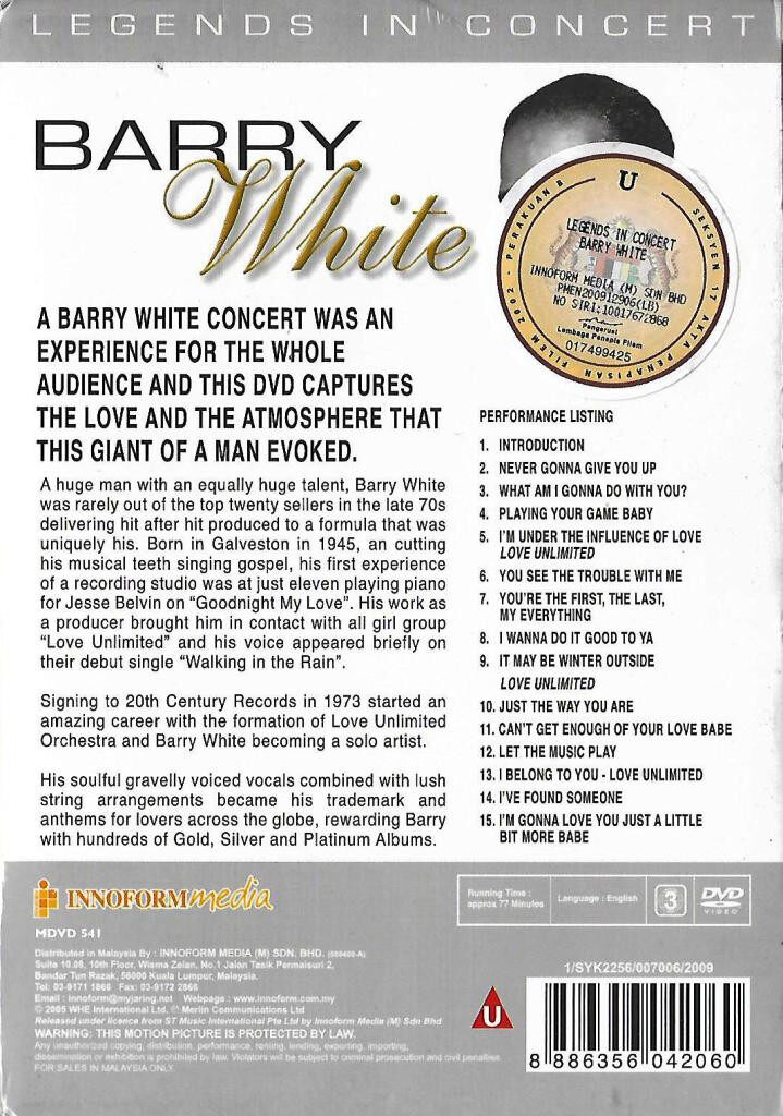 Barry White Legends In Concert DVD 15 Timesless Hits Original Footages And Sound