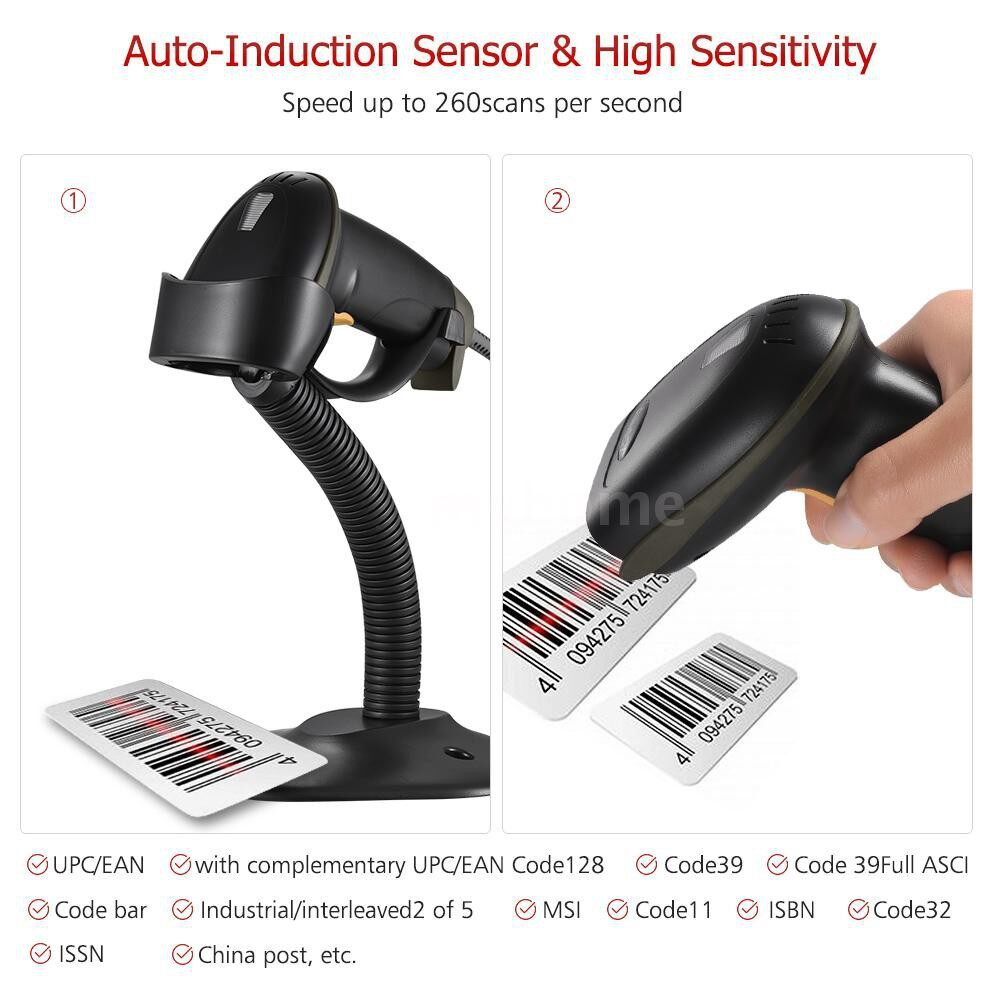 Printers & Projectors - Automatic USB Barcode Scanner Wired Bar Code 1D Scanner Reader with Adjustable Stand USB - #