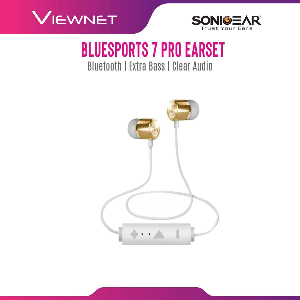 Sonic Gear Bluesports 7 Pro Wireless Bluetooth 4.2 Extra Bass Earset (Gold/ Silver)