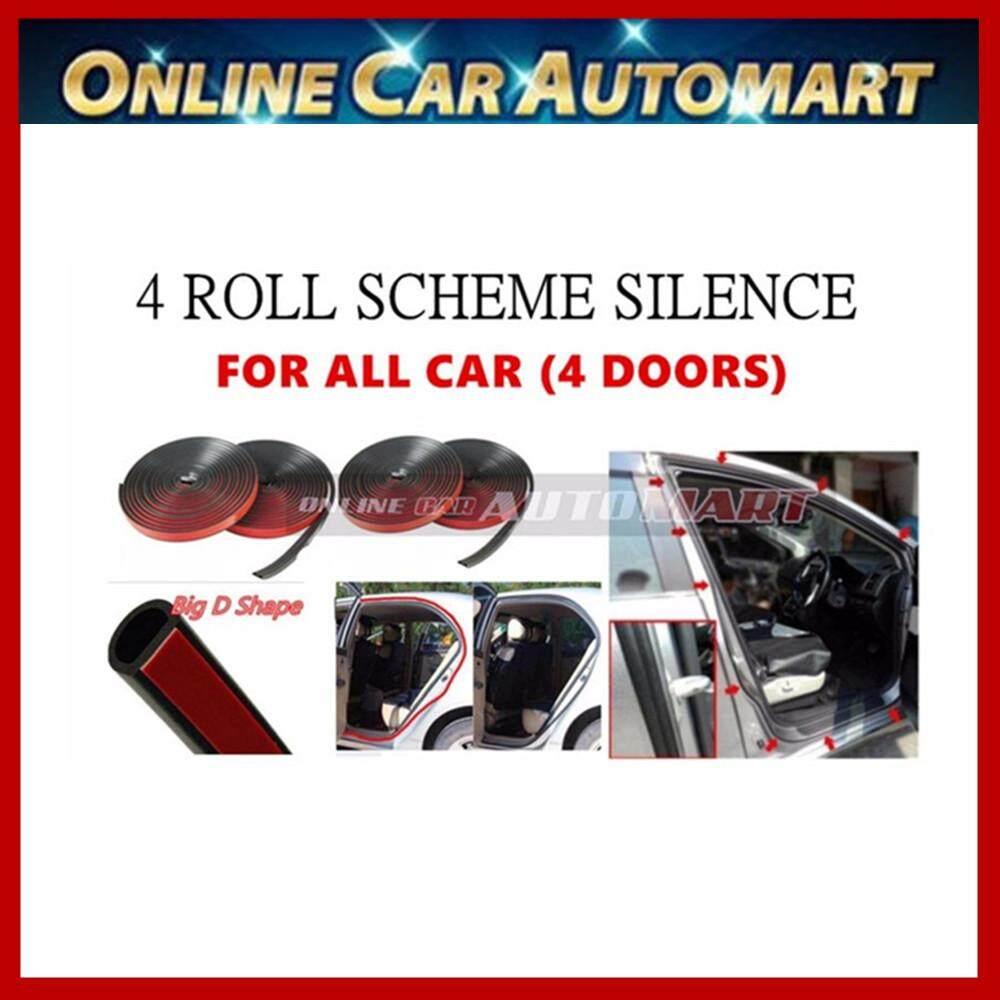 4 x Car Vehicle Rubber Scheme Silence (BIG D SHAPE) Wind Noise Door Sound Insulation Door Stripe - 4.3 Meter  (4 DOORS)