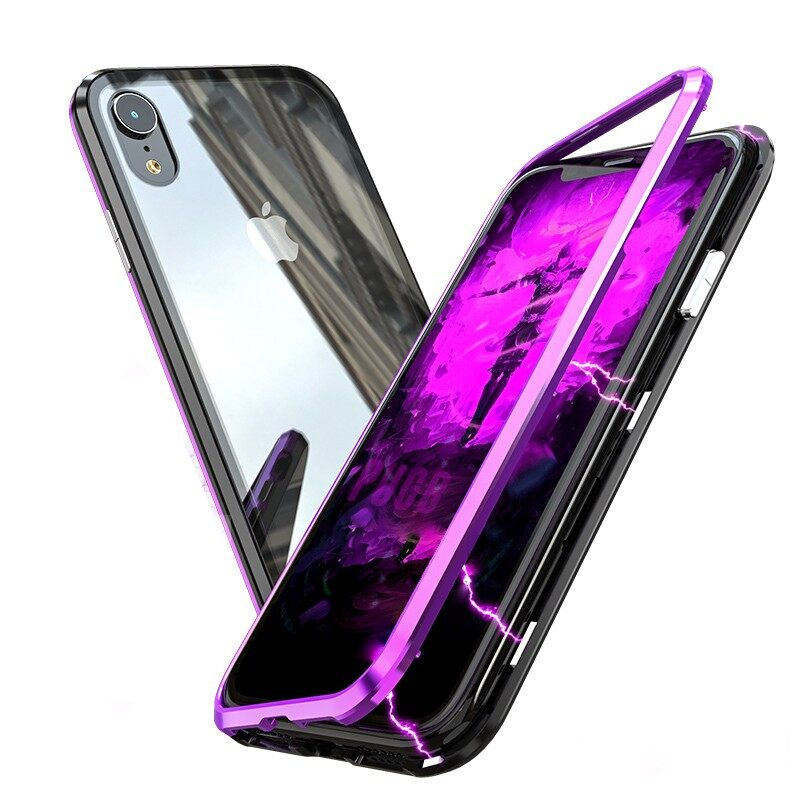 iPh Soft Cover - Protective Case for iPh XR 6.1 Adsorption Metal Cover - SILVER / BLACK BLUE / RED / BLACK PURPLE / BLACK