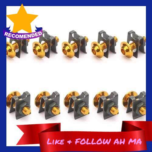 Best Selling 10Pcs Motorcycle M6 6mm Fairing Bolts Kit Spire Speed Fastener Clip Screw Nut (Gold)