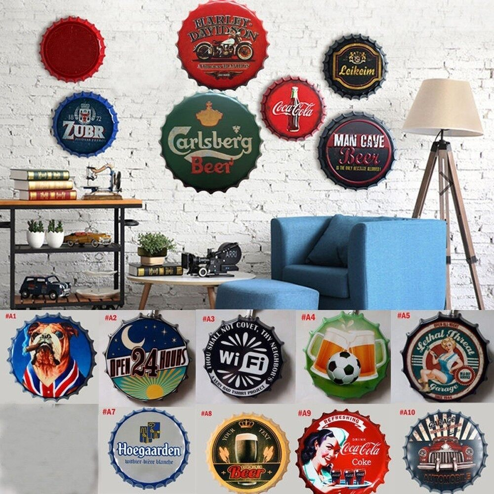 Mirrors & Wall Art - Retro Tin Metal Beer Bottle Caps Sign Poster Plaque Bar Pub Club Wall Home Decor - 10 / 9 / 8 / 7 / 5 / 4 / 3 / 2 / 1