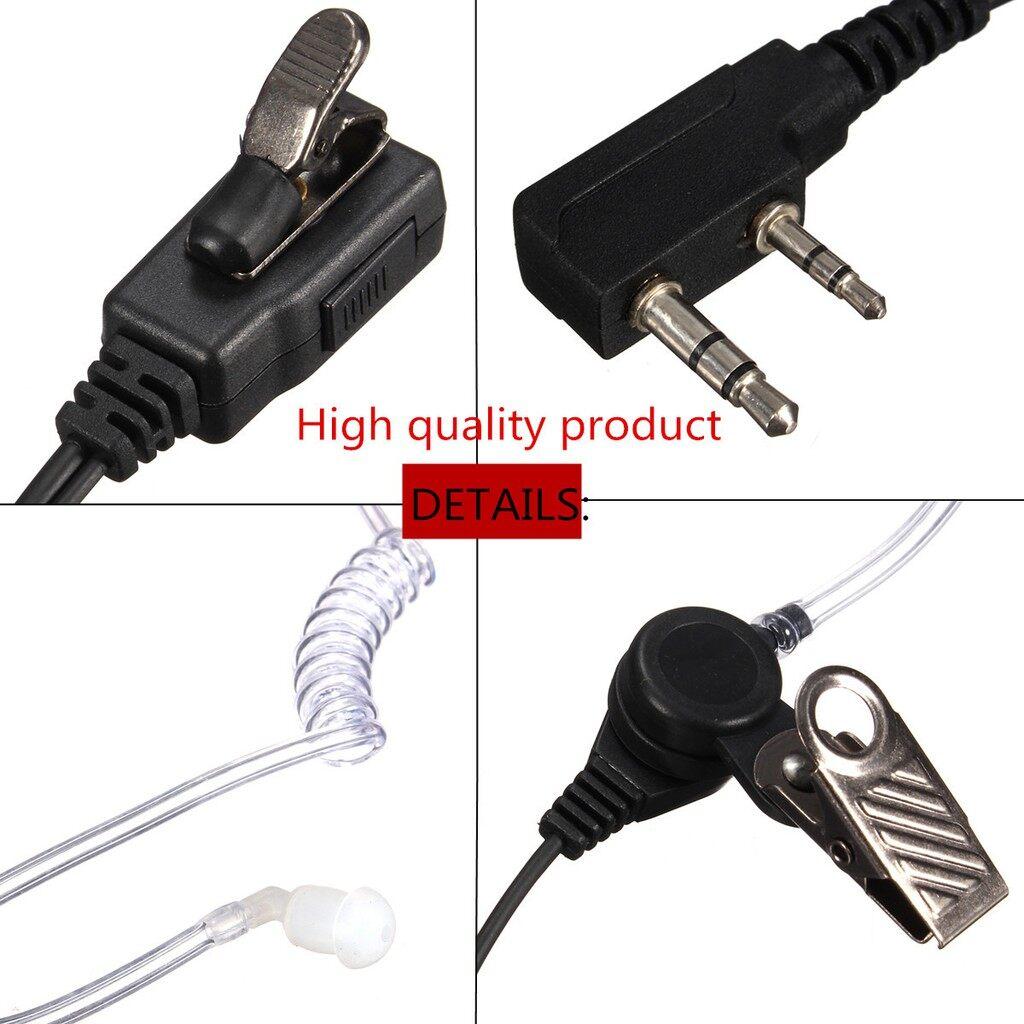 On-Ear Headphones - 2Pin Ear Piece Tube Earphone Head SET Mic for Kenwood Radio Walkie Talkie - Audio