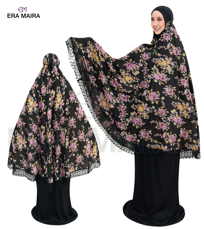 Telekung Full Printed Bunga Border Sakura Lace Flower Design     Black
