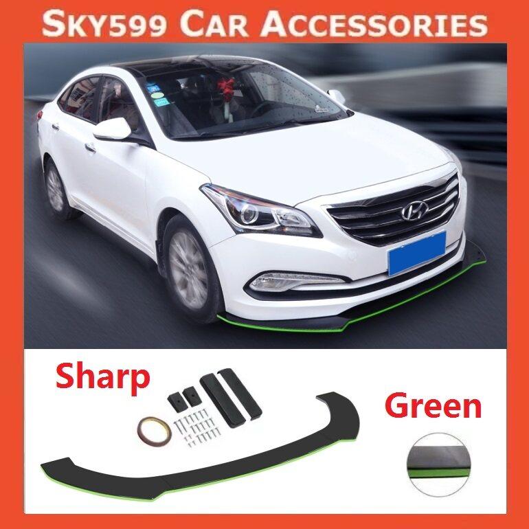 Car Universal Sharp Front Bumper Diffuser Lip Wrap Angle [GREEN COLOR]