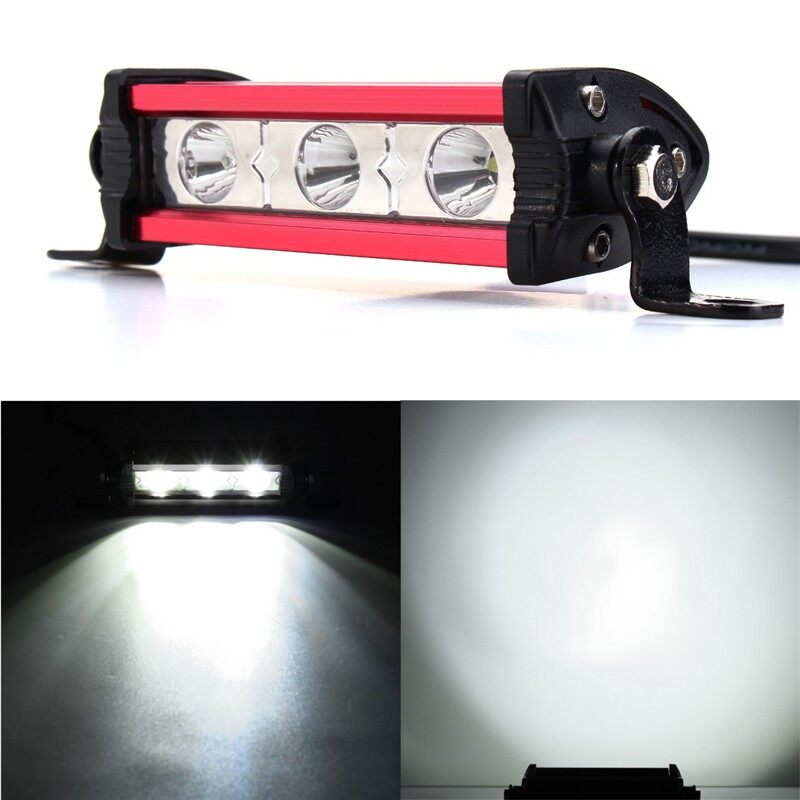 USB Light - 9W 3 LED Work Light Bar Lamp Motorcycle Boat SUV ATV Jeep Spot Waterproof - RED / SILVER / BLUE / BLACK