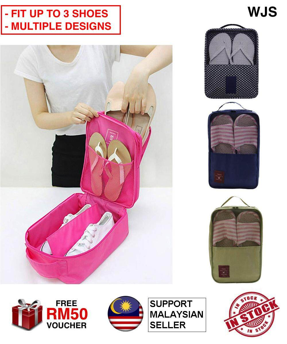 (MORE THAN JUST A SHOE BAG) WJS 3 in 1 Shoe Bag Breathable Shoe Organizer Shoe Organiser Travel Shoe Pouch Storage Travel up to 3 Pairs DARK BLUE GREEN [FREE RM50 VOUCHER]