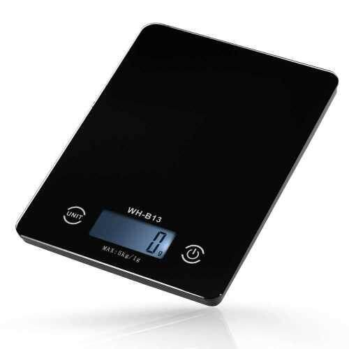 5KG/1G Accurate Touch Screen LCD Backlight Digital Kitchen Food Scale G/LB/OZ Electronic Weight Balance for Baking Cooking Tare Function (Black)