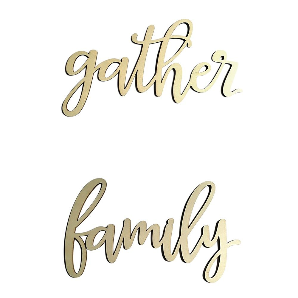 Home Decor - Wall Wood Home Decor Sign Wooden Letters Alphabet Word Decoration for Wedding Pa - FAMILY / GATHER