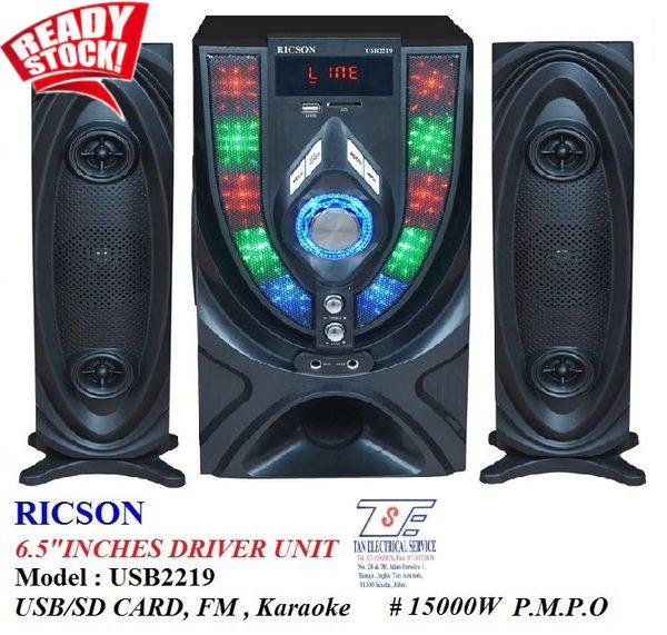 Ricson Speaker Karaoke / FM / USB / Microphone / 15000W USB2219
