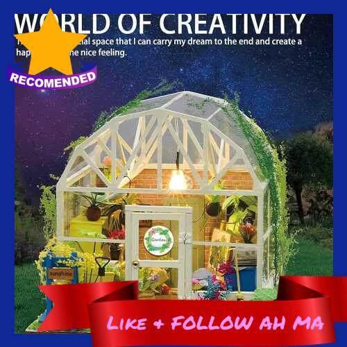 Best Selling DIY Dollhouse Wooden Miniature Furniture Kit Mini Green House Flower House with LED Birthday Gifts for Children Girls Women (Standard)
