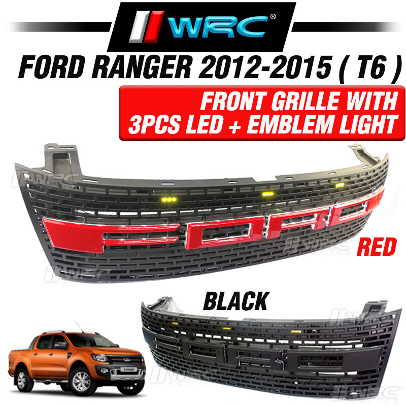 Ford Ranger 2012 - 2015 ( T6 ) Front Grille With 3pcs LED + Emblem Light ( Red )
