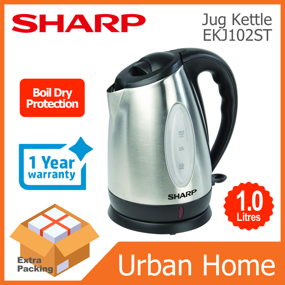 SHARP 1.0L 1200w Stainless Steel Jug Kettle Cerek with Boil Dry Protection (EKJ102ST)