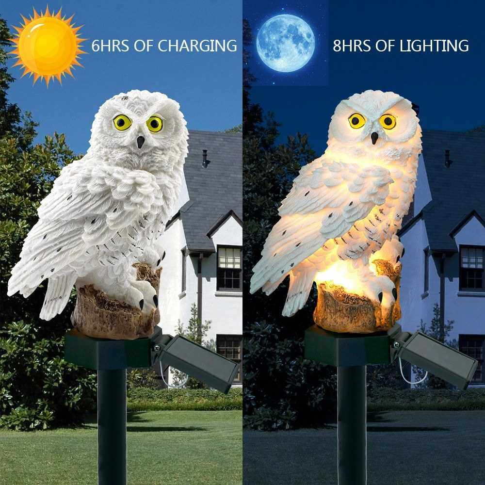 2v 0.07w Owl Design Solar Power Energy LED Lawn Lamp Outdoor Light IP65 Water Resistance Built-in 600mAh High Capacity Rechargeable Battery Portable for Patio Yard Roadside Brown (Brown)