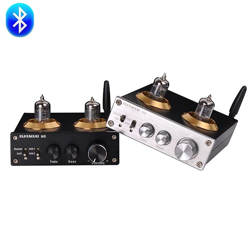 PJ.MIAOLAI M8 Tube Preamp HiFi Audio BLUETOOTH Home Digital Amplifier - BLACK / SILVER