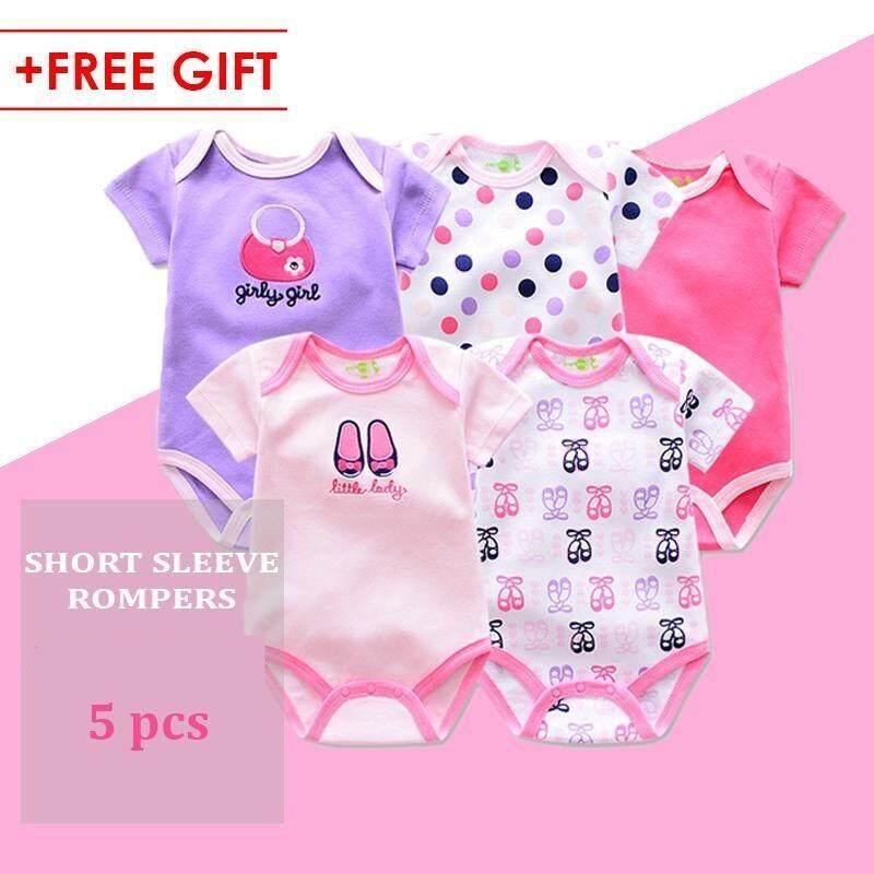 5 Pieces Set Baby Girl Cotton Romper Full Moon Christmas Gift Random Design ( Girl )