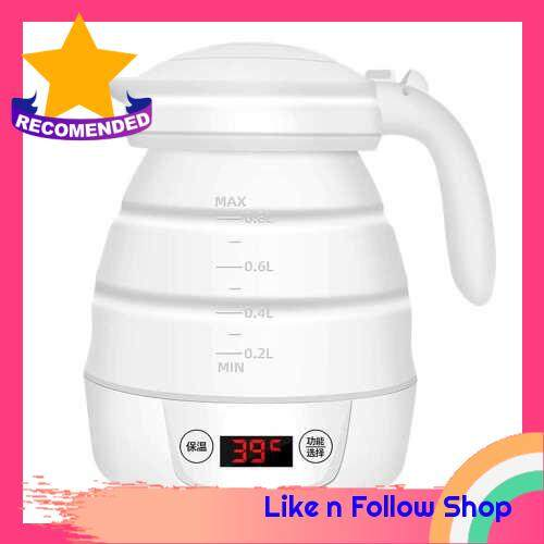 Foldable Electric Kettle Electric Thermos Bottle Cup Portable Silicone Kettle Bottle Heating Thermal Mug LCD Water Temperature Display Travel Water Mug EU Plug 220V (White)