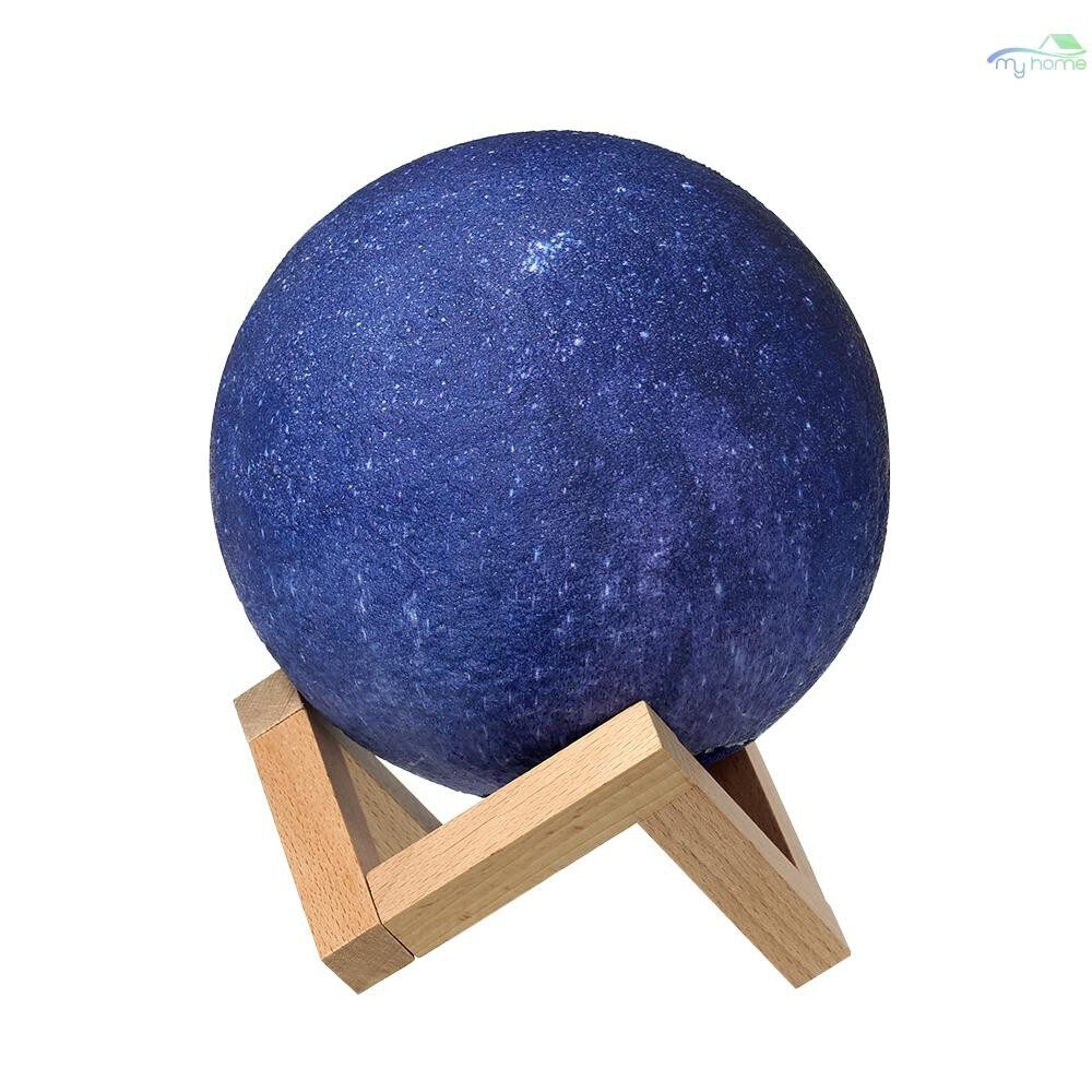 Lighting Fixtures & Components - 8cm/3.15in 3D Printing Star Moon Lamp USB Led Moon Shaped Table Night Light with Base 16 Colors - BLUE-8CM / BLUE-10CM / BLUE-13CM / BLUE-15CM / BLUE-18CM / BLUE-20CM