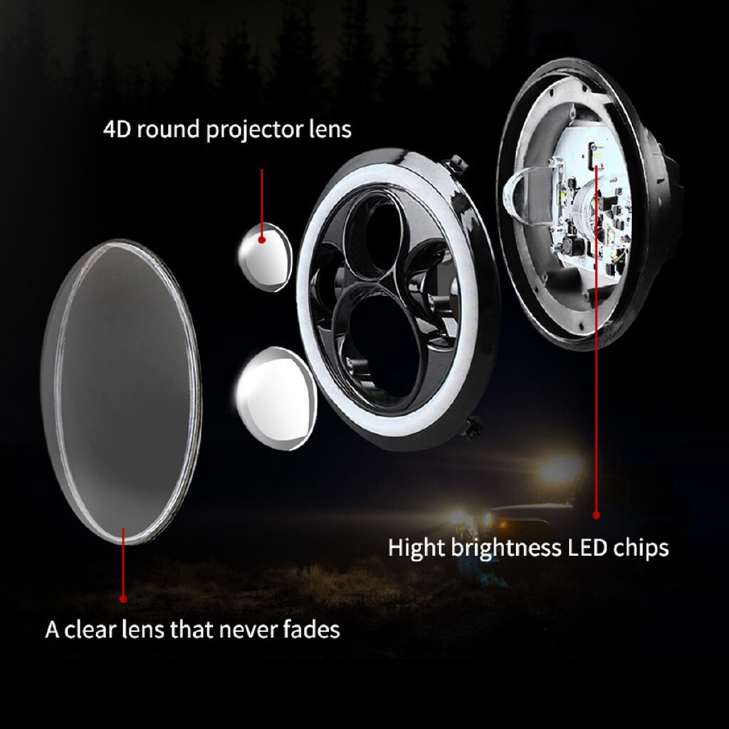 Car Lights - 75W 7 inch LED Halo Angle Eyes Projector Headlight For Honda Harley Kawasaki - Replacement Parts